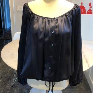NWOT BCBG navy silk top with adjustable hem. M